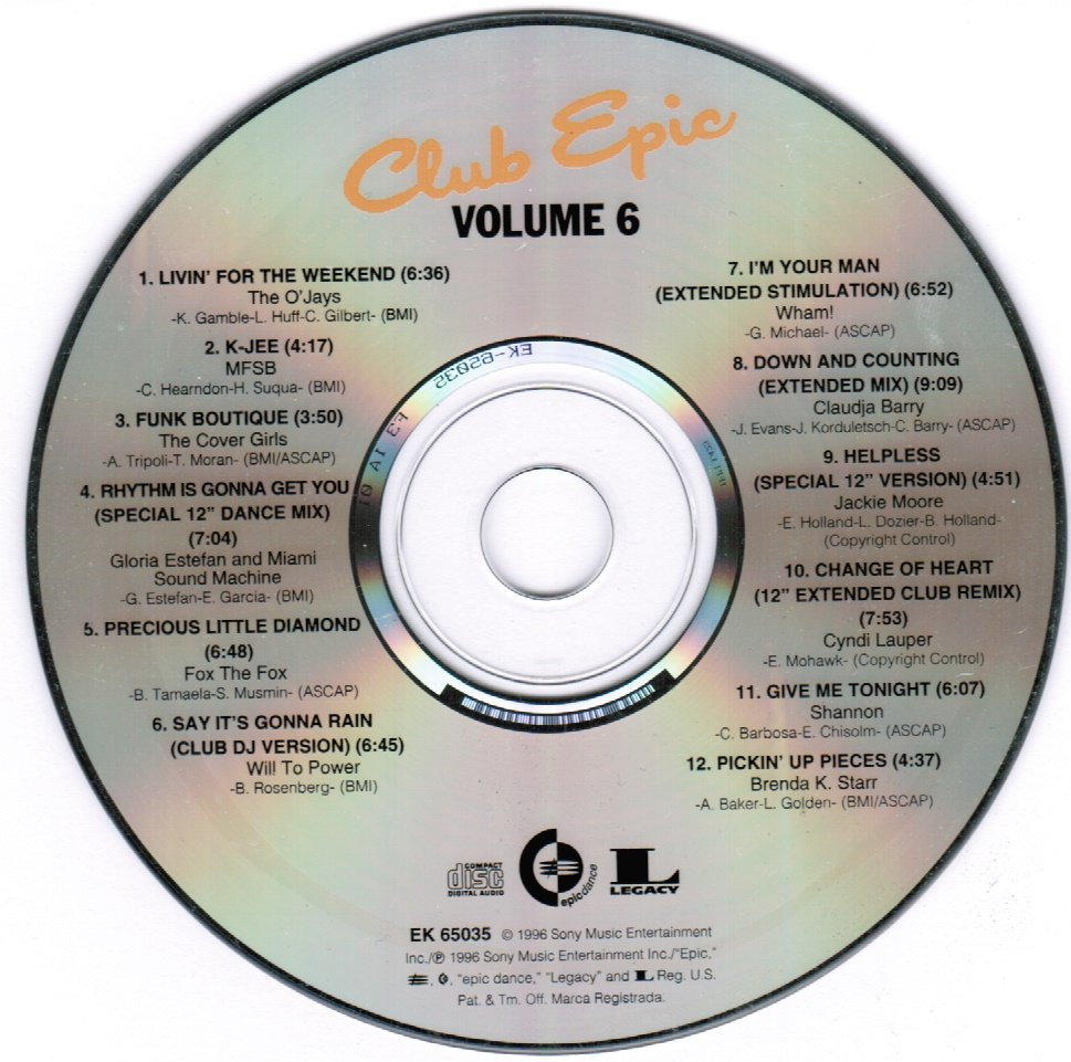 Club Epic Vol. 6 CD 1996 Collection of Club Dance Mixes
