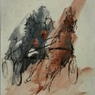 Vintage Horse Racing Harness Abstract 24x20 Oil Painting on Canvas