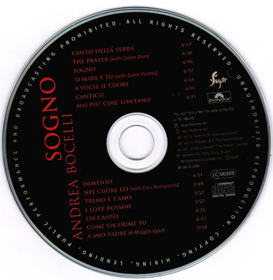 Sogno by Andrea Bocelli CD