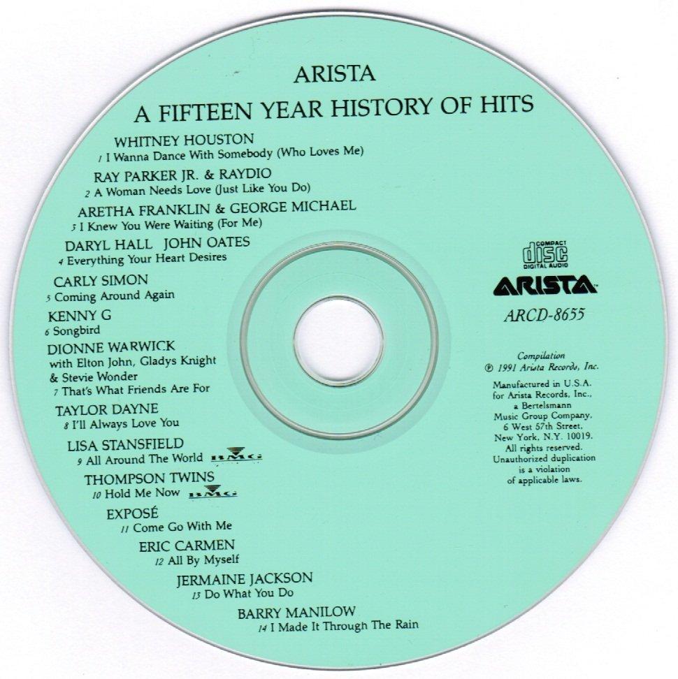 Arista 15 Year History of Hits CD