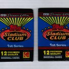 Lot of 2 1991 Stadium Club Series 1 Packs Juan Gonzalez on Back
