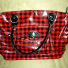 Authentic Kristine Red Black Checkerboard Tote Handbag Purse