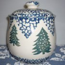 Folk Craft Sponge By Tienshan Blue White Green Christmas Cookie Jar