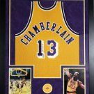 WILT CHAMBERLAIN AUTOGRAPHED JERSEY 35x43 FRAMED WITH PHOTOS