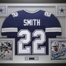 EMMITT SMITH AUTOGRAPHED FRAMED JERSEY