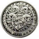 US Hobo 1896 Morgan Dollar skull zombie skeleton Silver Plated Copy Coins