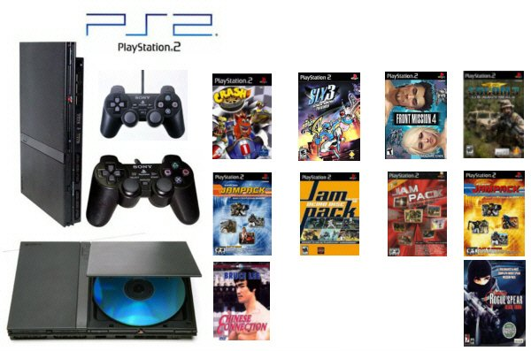 """Slim Sony Playstation 2 """"Value Bundle"""" - 30 Games, 2 Controllers and DVD Movie"""