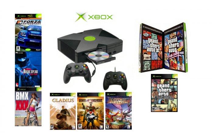 "Xbox ""GTA San Andreas Ultimate Bundle""- 9 Games + 2 Controllers"