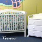 "Giovanni Rizzo ""Venice White"" Full Size Baby Crib Set with 3 Drawer Changer MSRP $1399.99"