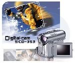 "Samsung SCD-353 SCD353 Mini DV Camcorder 20x Optical900x Digital Zoom B W Viewfinder 2.36"" LCD"