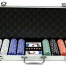 500PC 13.5GRAM PRO CLAY STRIPE SUIT POKER CHIP SET WITH ALUMINUM CASE