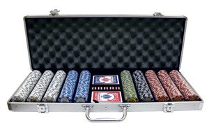 600PC 9GRAM HOT ROD CLAY POKER CHIP SET WITH ALUMINUM CASE
