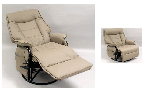 Giovanni Rizzo - 360 degrees Swivel Glider Rocker Chair with Footrest