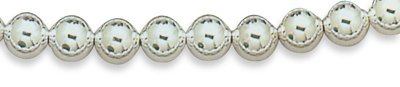 Sterling Silver Bead Bracelet with Rhodium Finish 7''