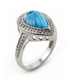 Blue Millefiori  Italian Design Sterling Silver Ring Womens size 7