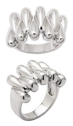 Sterling Silver New Aged Interlaced Ring with Rhodium Finish