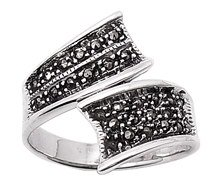 Sterling Silver Ribbon Marcasite Ring Womens size 9