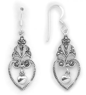Vintage look Marcasite and Sterling Silver Dangle earrings with French hook