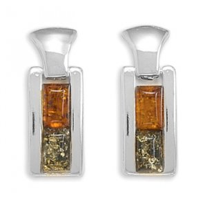 Fancy Sterling Silver  Earrings Featuring Cognac and Green Amber Drop with Post back