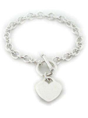 Sterling Silver High Polished Small Link  Heart Charm Toggle Bracelet