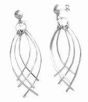 Sterling Silver Fond Feather  Dangle Earrings