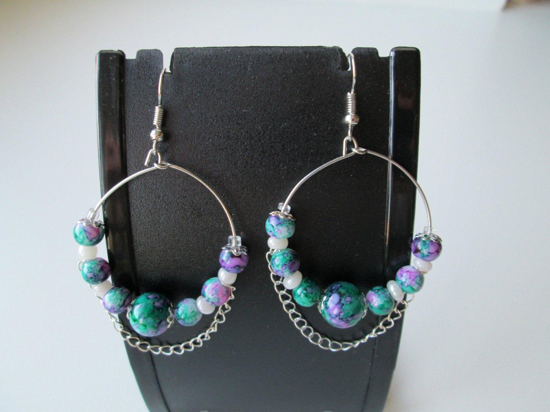 Hoop Earrings 35mm, Hoop Earrings With Beads.