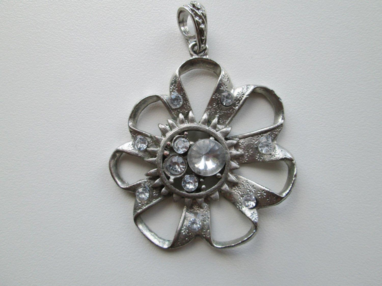 Silver Tone Flower With Rhinestones Pendant, Charm
