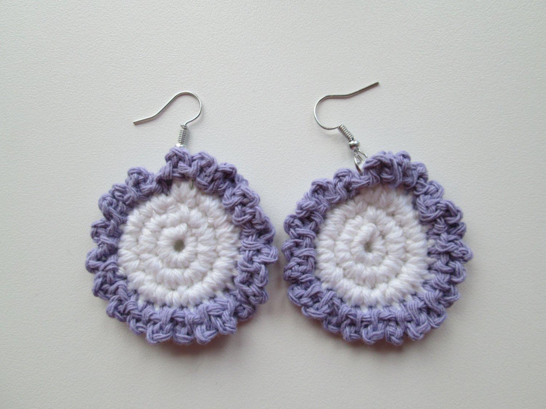 Crochet Earrings, Flower Earrings.