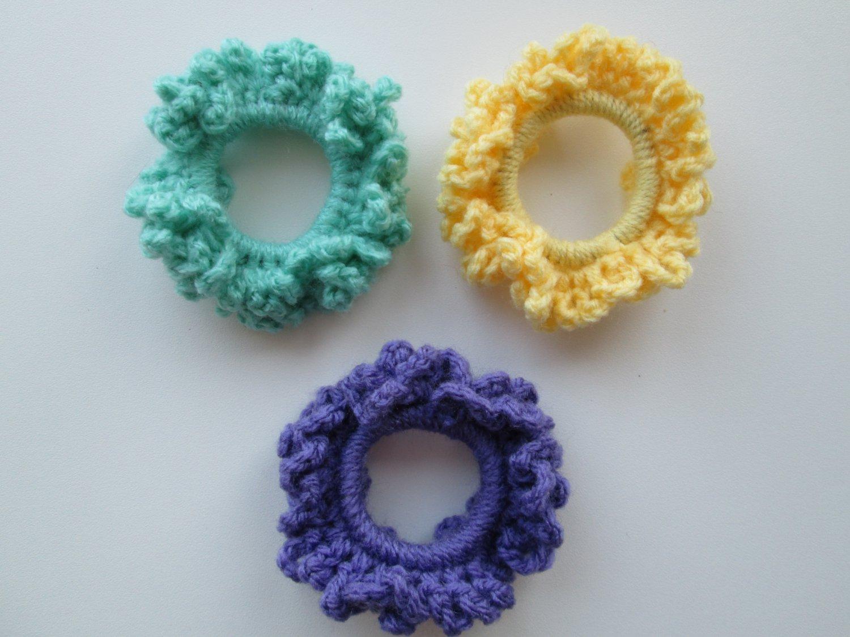 Crochet Scruchies, Hair Scrunchies, Set of 3.