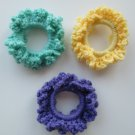 Crochet Scruchies, Hair Scrunchies, Set of 3.