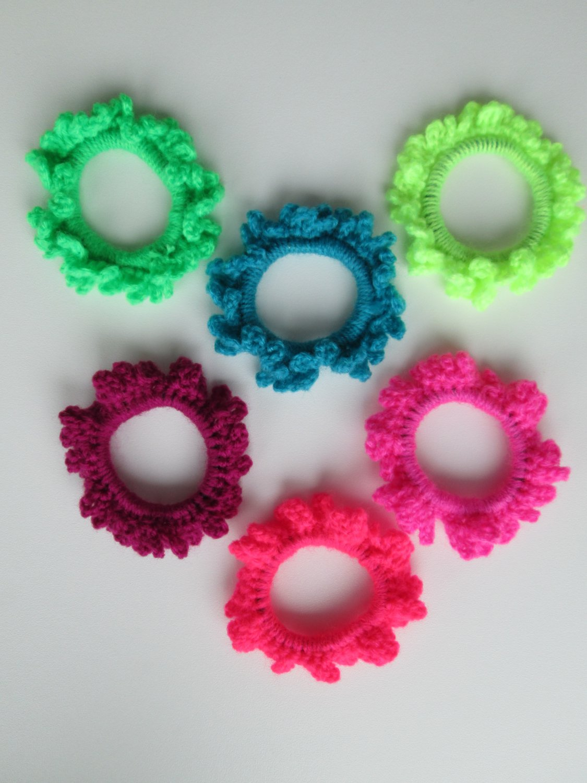Crochet Scruchies, Hair Scrunchies, Neon Color.