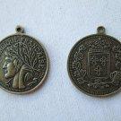 Antiqued Brass Color Republique Francaise Coin Charm Pendant, 12 Pieces.