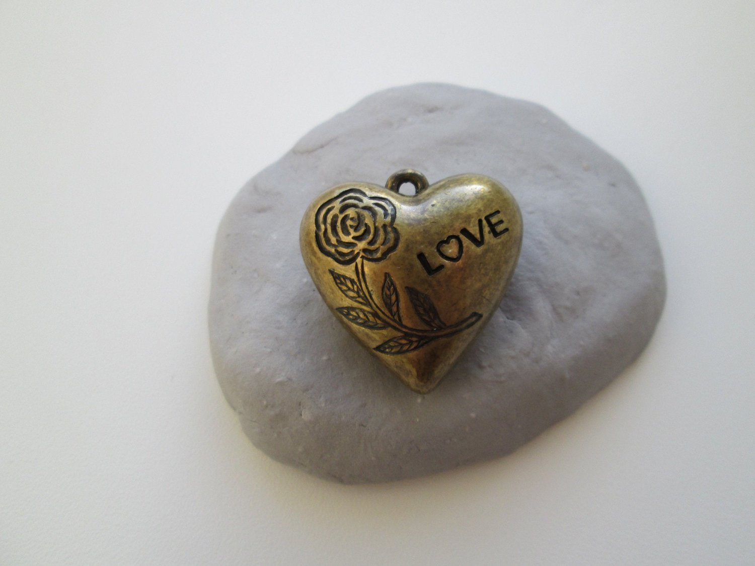 Bronze Color Heart Charm Rose with Love text.