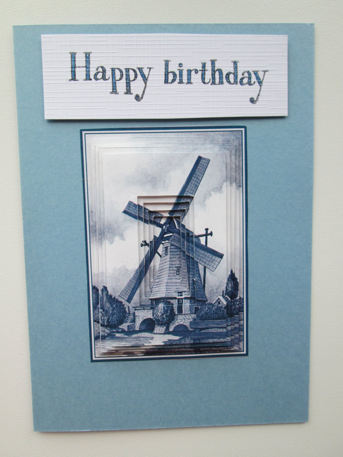Happy Birthday Card, Dutch Windmill Card, Delfts Blue Card.