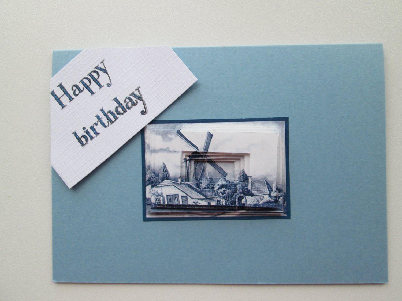 Happy Birthday Card, Dutch Windmill Card, Delfts Blue Card.