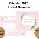 Monthly Blank Calendar 2022, Printable Calendar, 11X8.5 inches.