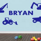 Personalized Custom Name Construction Truck Kids Wall Stickers Decals Vinyl DIY