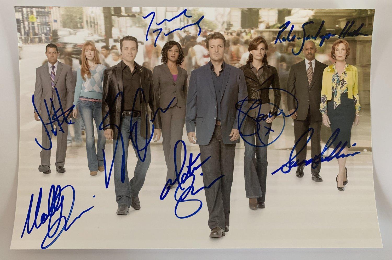 CASTLE cast signed autographed 8x12 photo photograph Stana Katic Nathan Fillion
