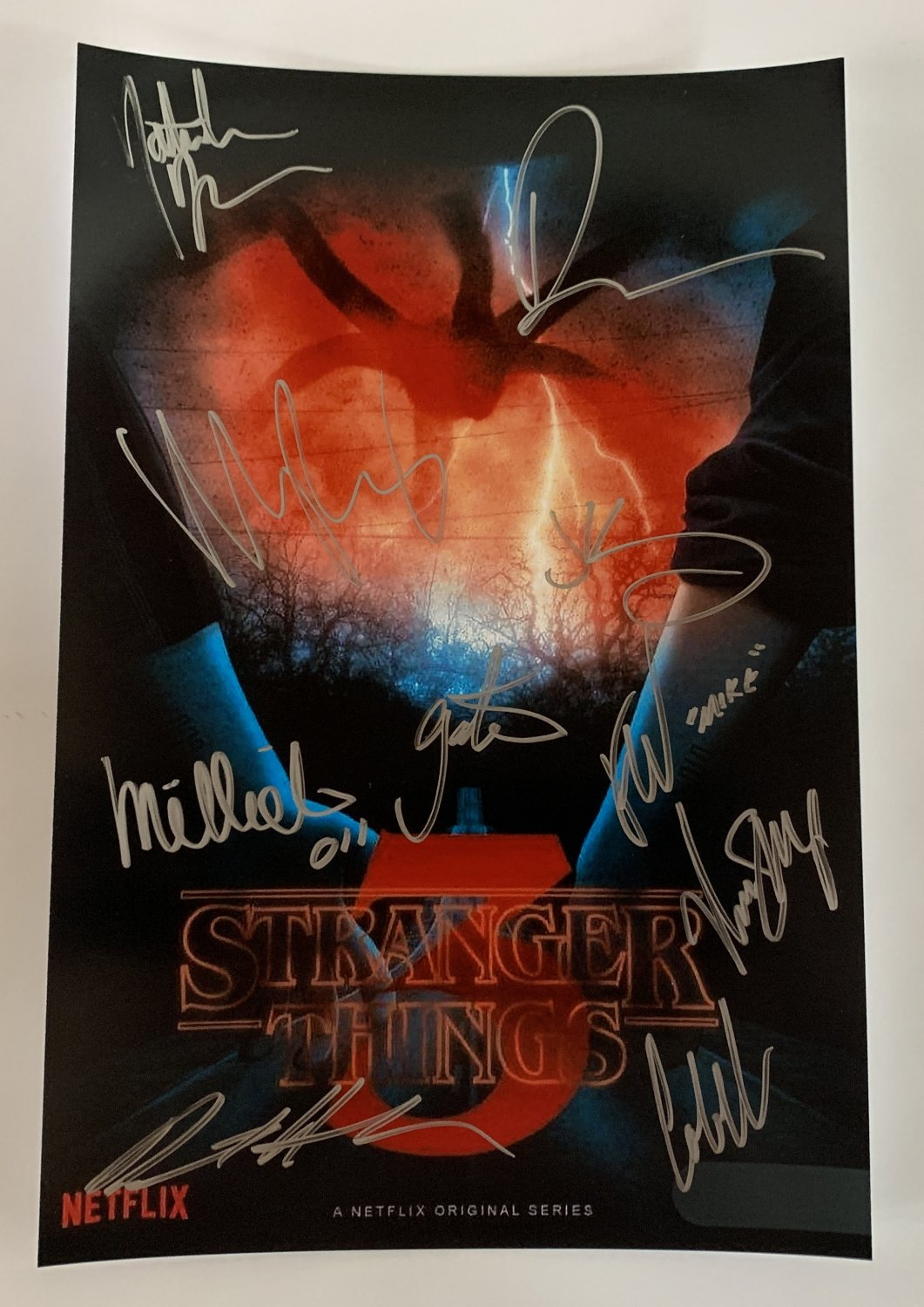 Stranger Things cast signed autographed 8x12 photo Millie Bobby Brown Winona Ryder