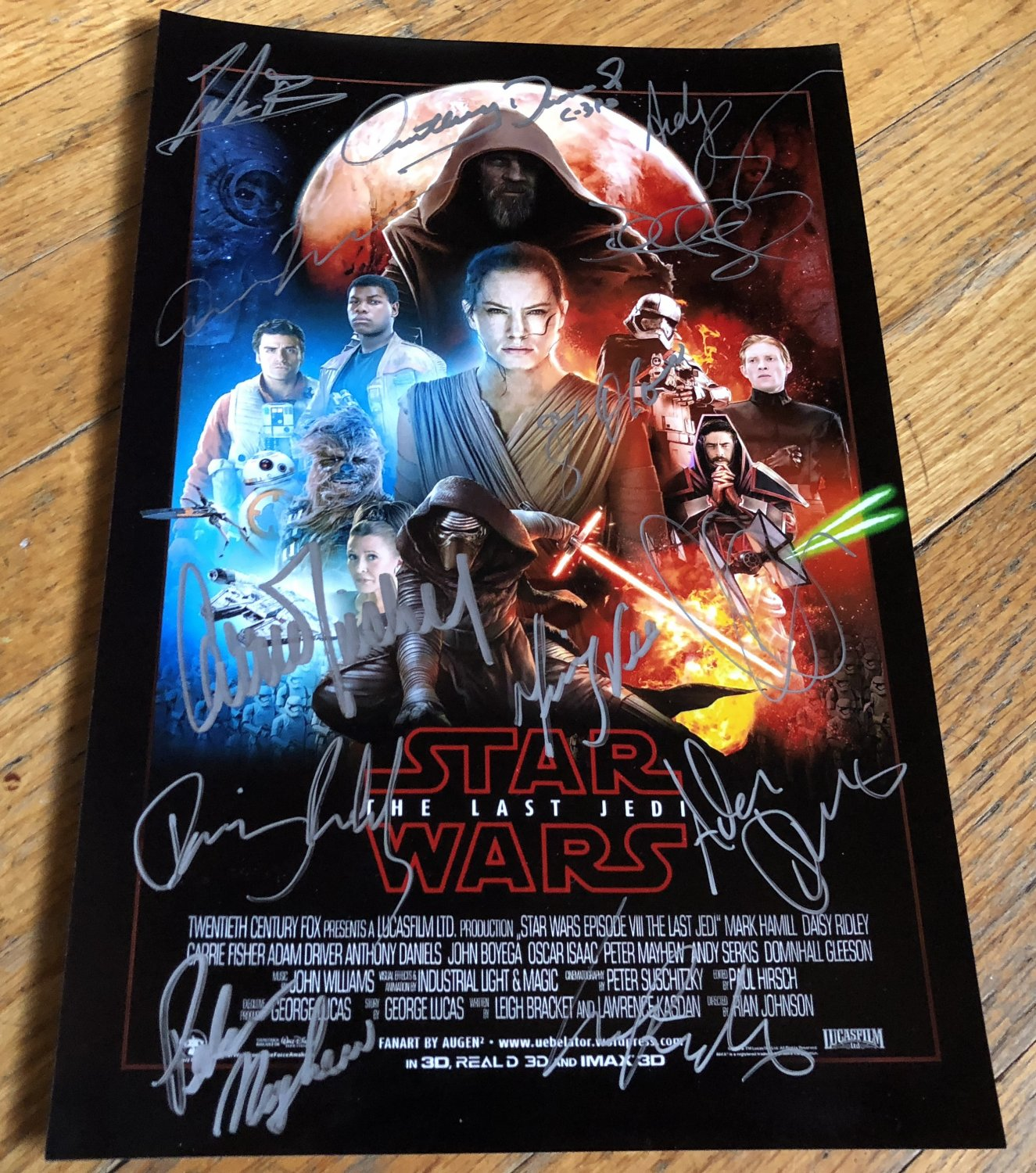 Star Wars The Last Jedi cast signed autographed 8x12 photo photograph Daisy Ridley Carrie Fisher