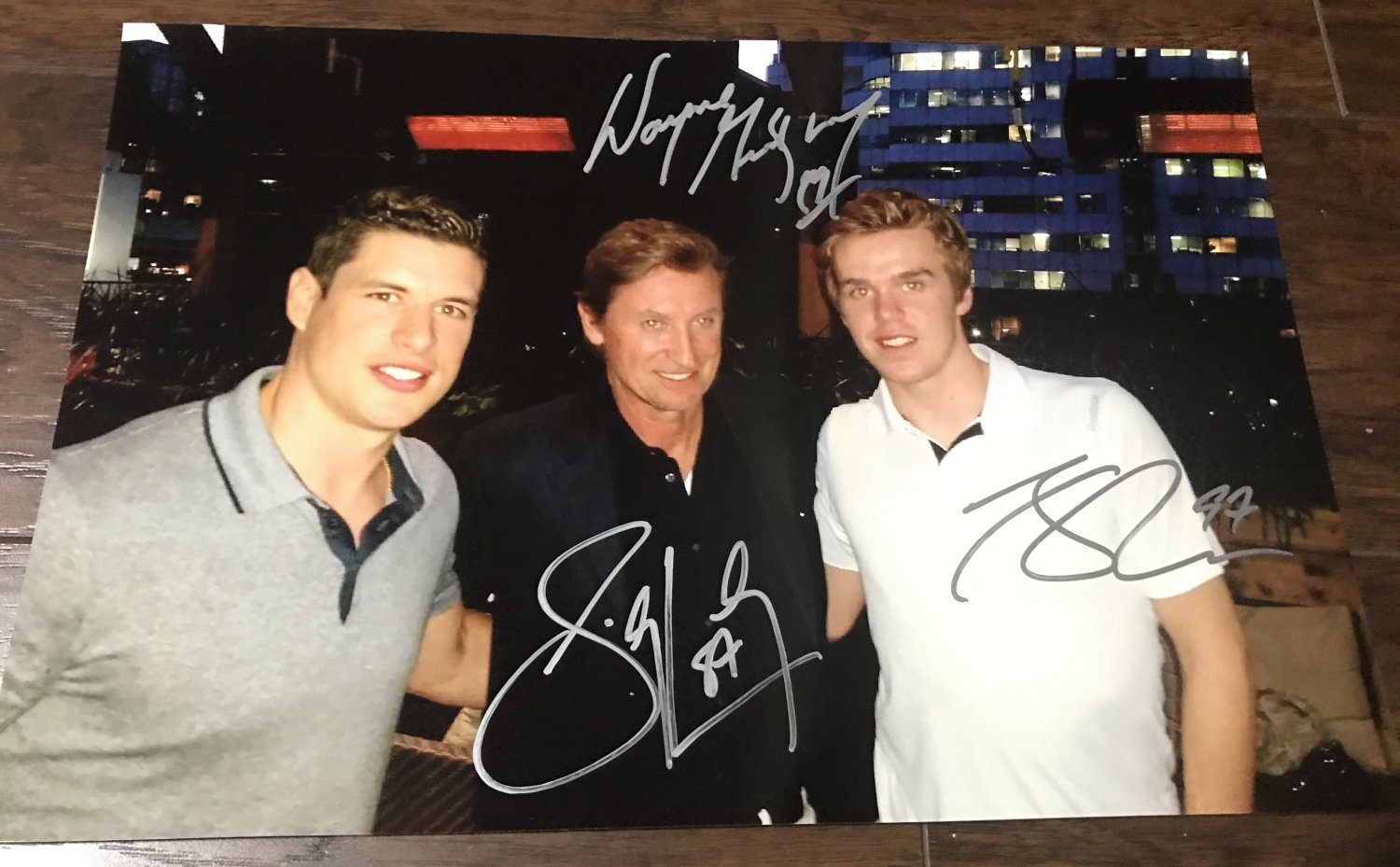 Sidney Crosby Wayne Gretzky Connor McDavid triple autographed 8x12 photo rc rookie auto