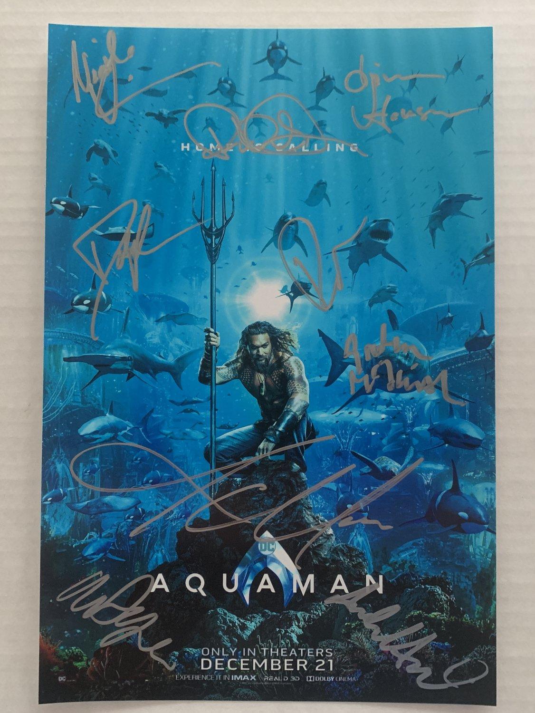 AQUAMAN cast signed autographed 8x12 photo Jason Momoa Patrick Wilson photograph