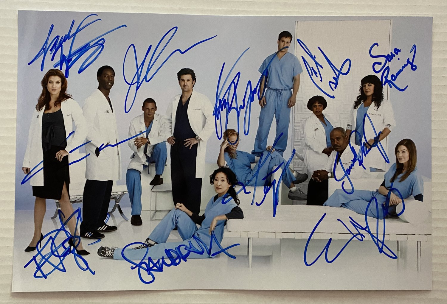Grey's Anatomy cast signed autographed 8x12 photo Ellen Pompeo Justin Chambers
