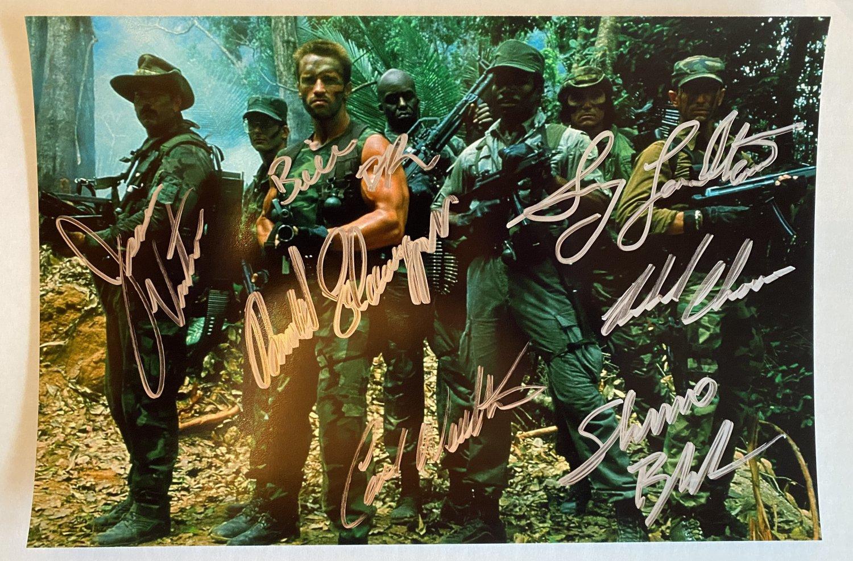 Predator cast signed autographed 8x12 photo Arnold Schwarzenegger Sonny Landham