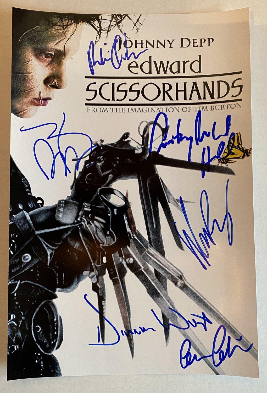 Edward Scissorhands cast signed autographed 8x12 photo Johnny Depp Winona Ryder