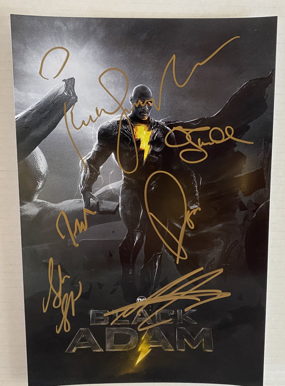 Black Adam cast signed autographed 8x12 photo The Rock Dwayne Johnson photograph