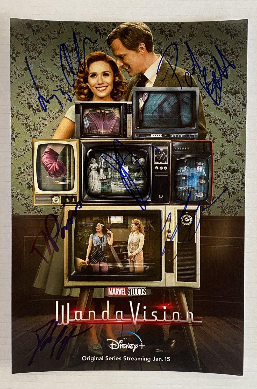 WandaVision cast signed autographed 8x12 photo Elizabeth Olsen Paul Bettany autographs