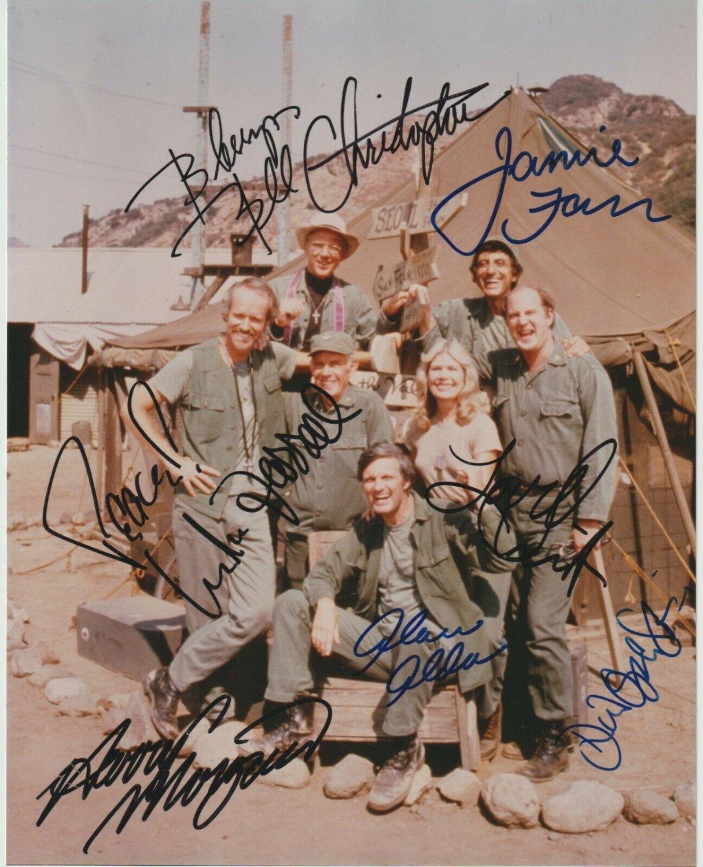 M*A*S*H cast signed autographed 8x12 photo Alan Alda Jamie Farr Mash autographs