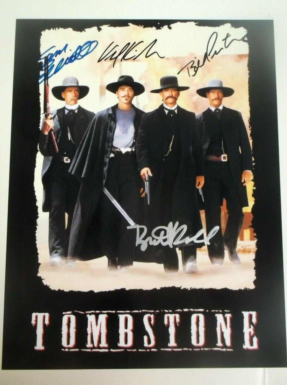 Tombstone cast signed autographed 8x12 photo Bill Paxton Val Kilmer Sam Elliot autographs