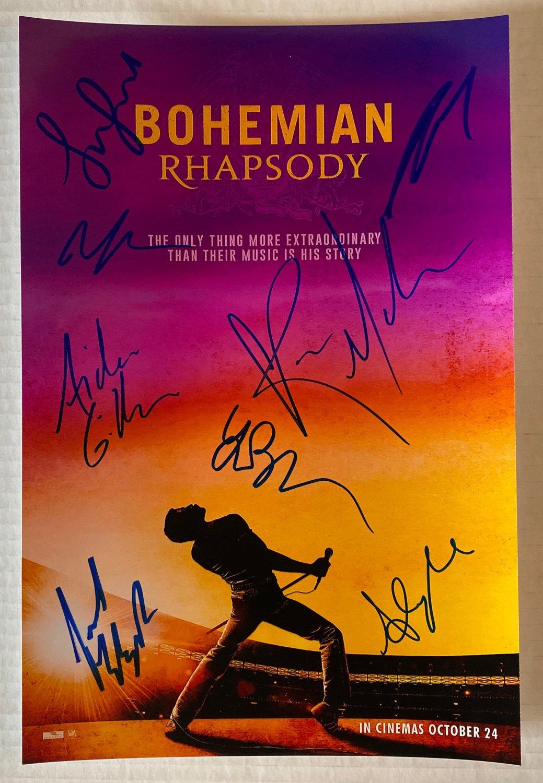 Bohemian Rhapsody cast signed autographed 8x12 photo Rami Malek Queen autographs